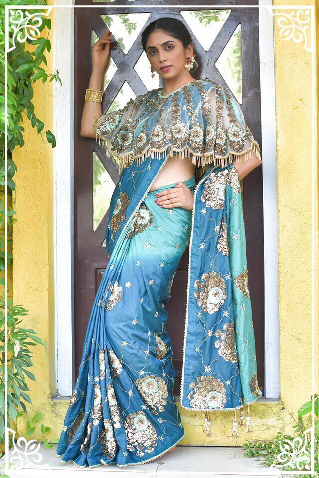 Sky Blue Women Party Wear Dola Silk Saree