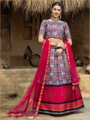 Printed Chaniya Choli In Red Multicolor