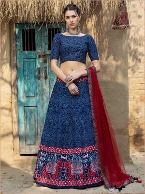 Digital Print Art Silk Chaniya Choli In Navy Blue