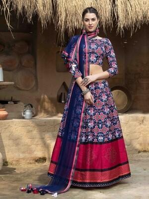 Digital Print Art Silk Chaniya Choli In Blue Red