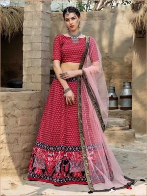 Digital Print Art Silk Chaniya Choli In Red