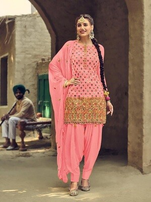 Baby Pink  Designer Embroidery With Sequence Work Patiyala Suit