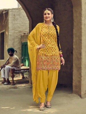 Latest Embroidery With Sequence Work  Patiyala Suit