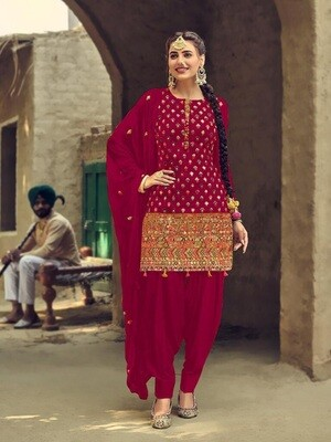 Glossy Pink  Designer Embroidery With Sequence Work Patiyala Suit
