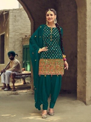 Designer Green Embroidery With Sequence Work Patiyala Suit