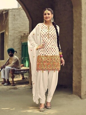 Embroidery With Sequence Work White Patiyala Suit