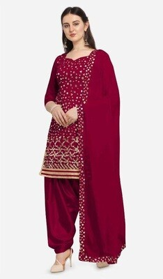 Latest Embroidery With Mirror Foil Work Patiyala Suit