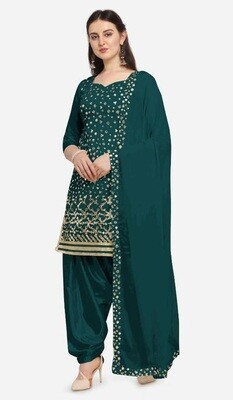Latest Embroidery With Mirror Foil Work  Green Patiyala Suit
