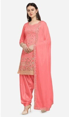 Peach Embroidery With Mirror Foil Work Patiyala Suit
