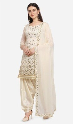 Party Wear White Color Embroidery With Mirror Foil Work Patiyala Suit