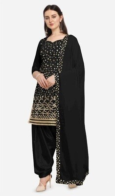 Black Latest Embroidery With Mirror Foil Work  Patiyala Suit