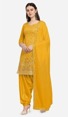Party Wear Embroidery With Mirror Foil Work Yellow Patiyala Suit