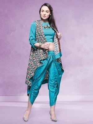 Rama Green Color Dhoti With Pure Cotton Reyon Jacket