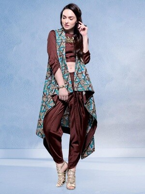Silky Brown Dhoti With Designer Jacket