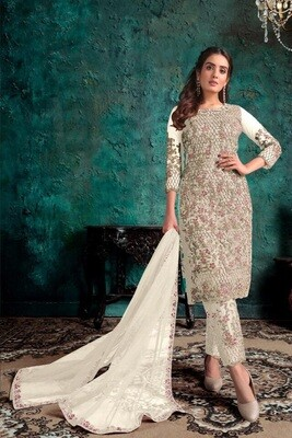 Cream New Butterfly Net Embroidered Pakistani  Suit