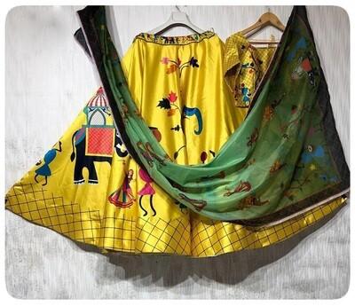 Heavy Silk Designer Digital Print Yellow Color Lehenga Choli