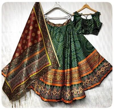 Digital Printed Party Wear Fluid Silk Lehenga Choli