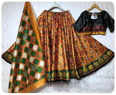 Demanding Festive Wear Darjeeling Silk And Digital Print Lehenga Choli