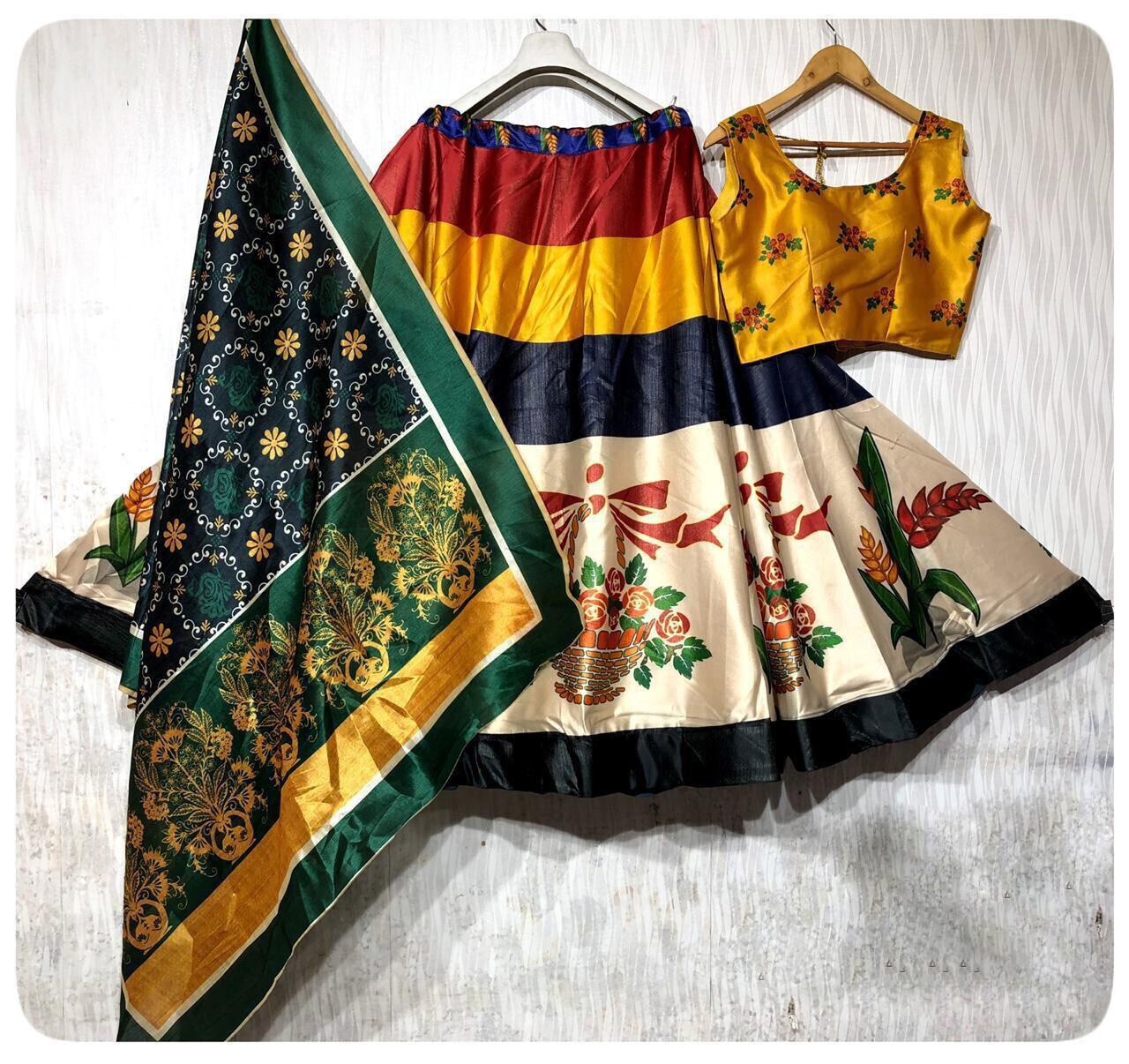 Darjeeling Silk With Designer Digital Print Lehenga