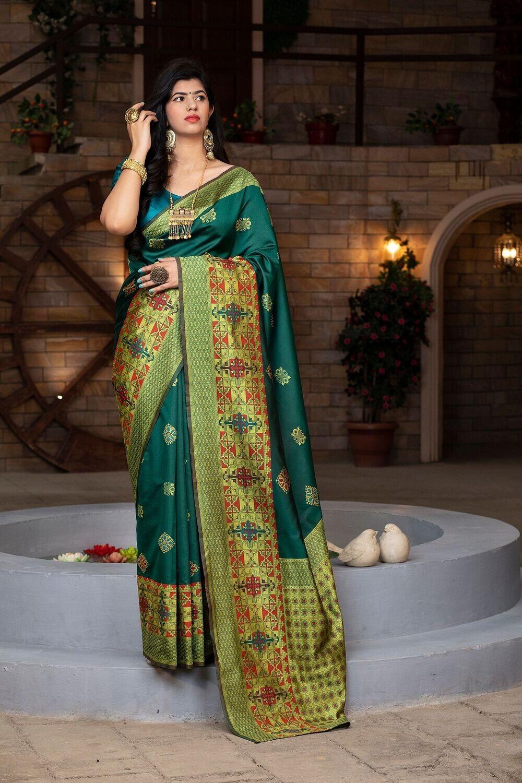 Designer Green Color Banarasi Silk Saree