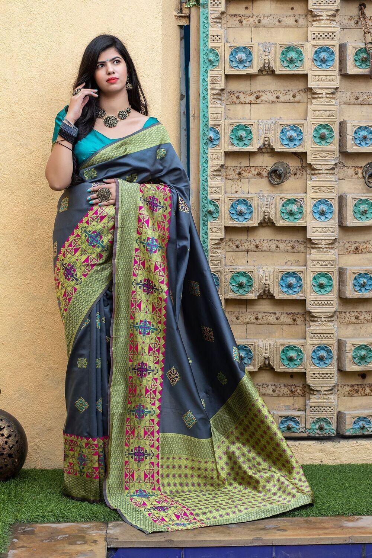 Fancy Grey Color Banarasi Silk Saree