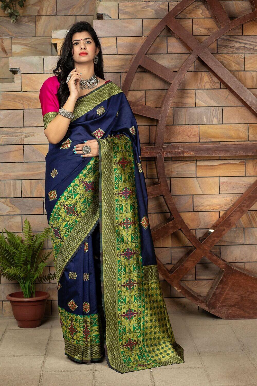 Gorgeous Navy Blue Banarasi Weaving Silk Saree