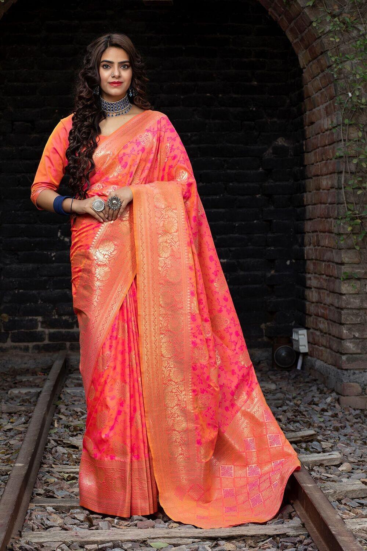 Banarasi Weaving Silk Pink Color Saree