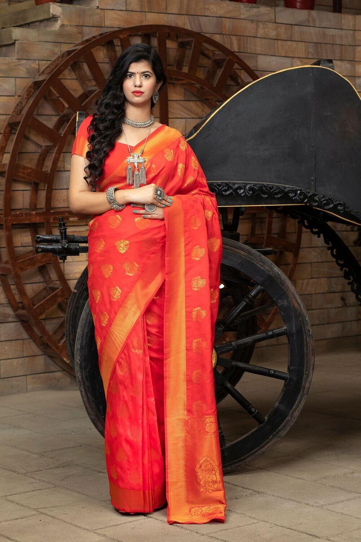 Wedding Wear  Designer Red Silk Saree