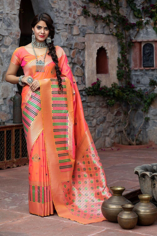 Latest Festive Wear Pink Color Banarasi Saree