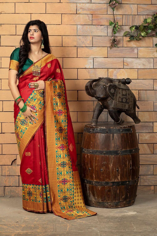 Wedding Wear Banarasi Silk Red Saree