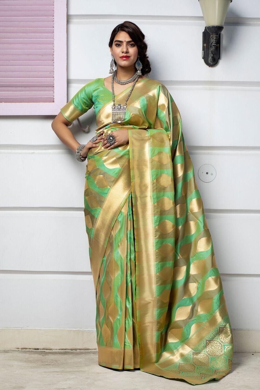 Fancy Wear Green Designer Weaving Silk Saree