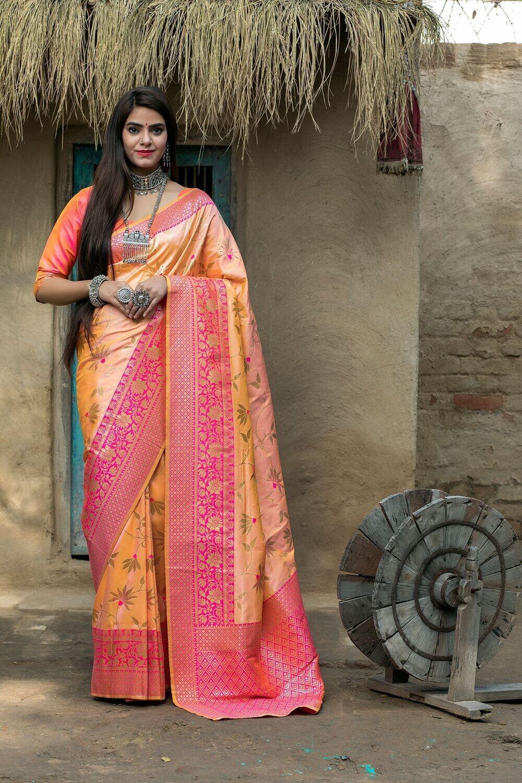 Demanding Light Orange Banarasi Silk Saree