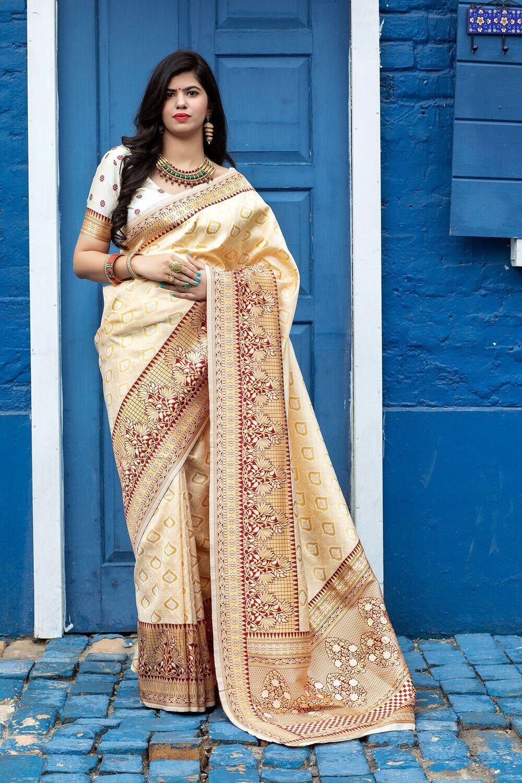 Tradition Wear Gorgeous Off White Silk Saree