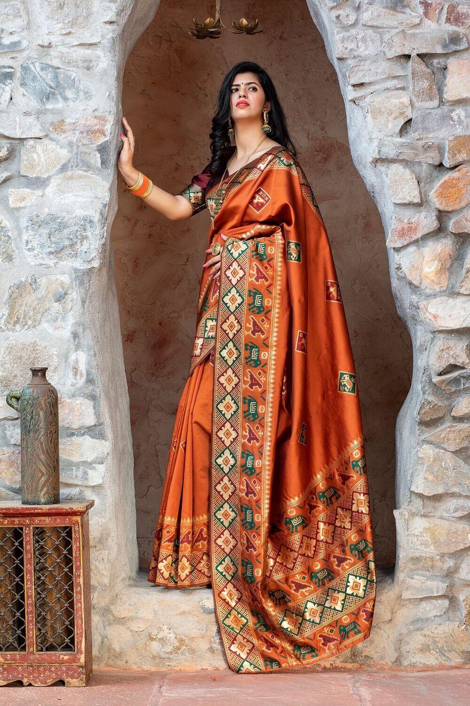 Festive Wear Orange Weaving  Silk Saree