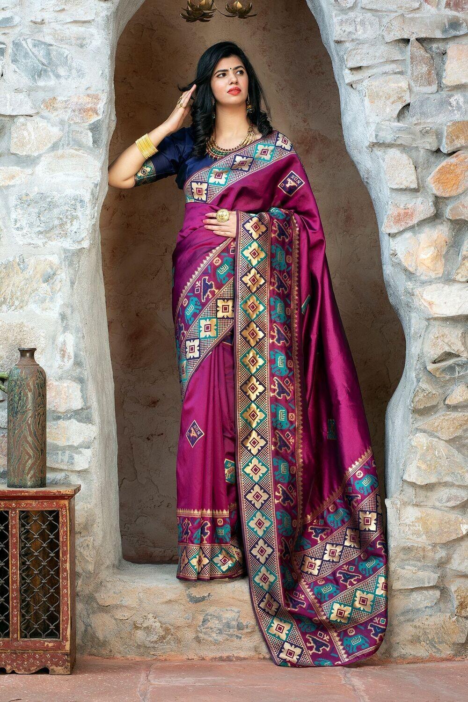 Gorgeous Festive Wear Purple Color Silk Saree