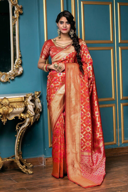 Wedding Wear Red Color Heavy Silk Saree