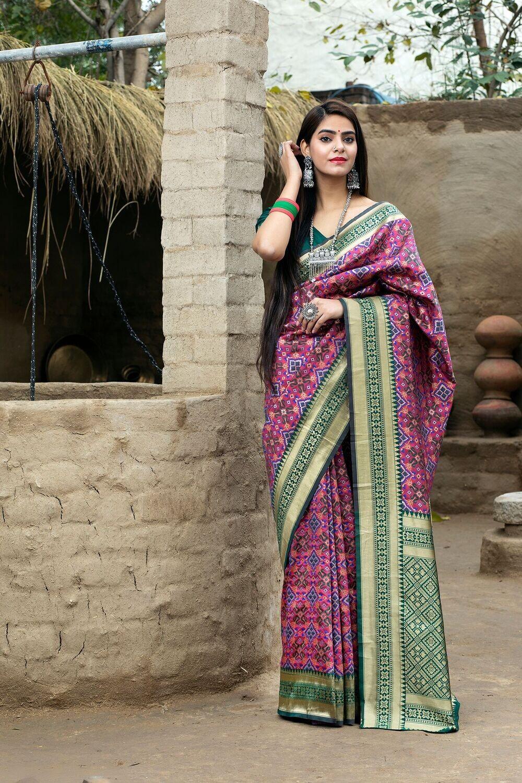 Demanding Rani Color Banarasi Weaving Silk Saree