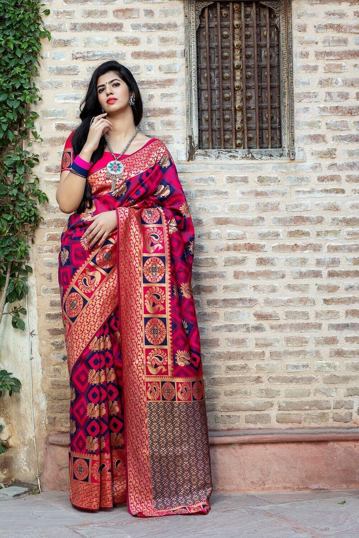 Stylish Pink Color Weaving Silk Saree