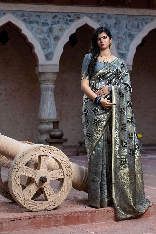Fancy Party Wear Grey Banarasi Silk Saree