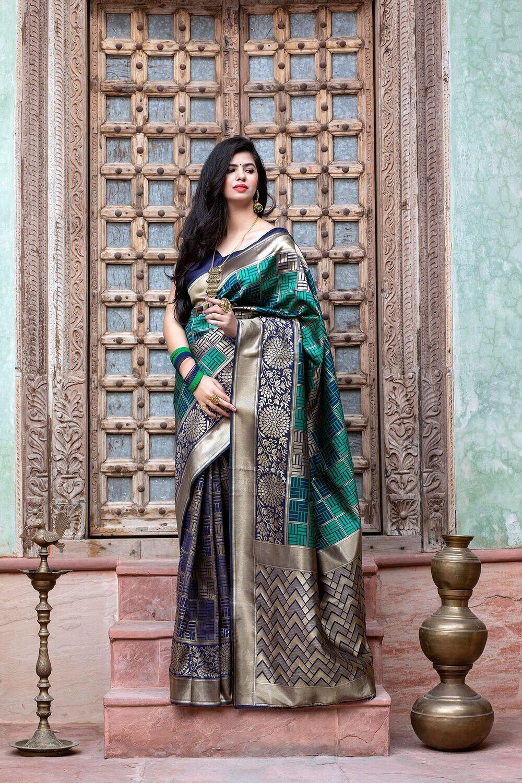Designer Navy Blue Banarasi Weaving Silk Saree