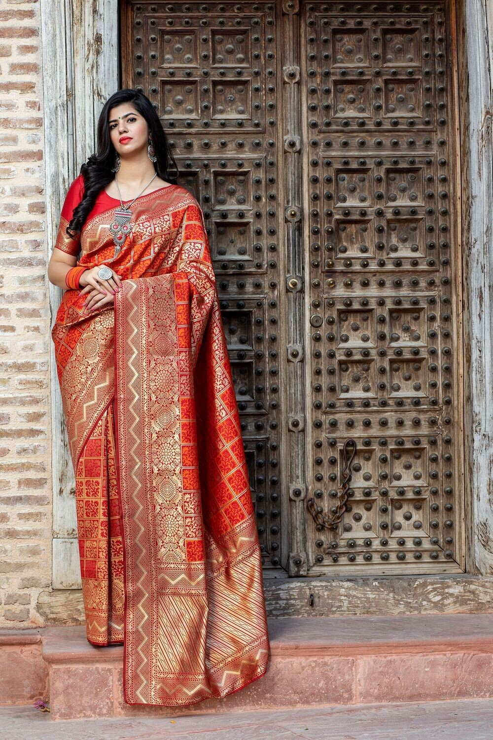 Gorgeous Red Color Fancy Pattern Emblished Saree