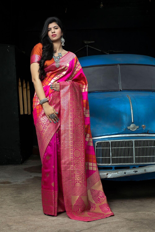 Exclusive Pink Color Banarasi Silk Saree