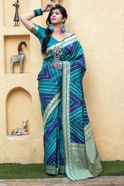 Beautiful Fancy Pattern Emblished Banarasi Silk Saree