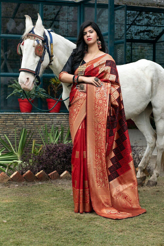 Wedding Wear Red Color Fancy Banarasi Silk Saree