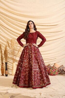 Preety Maroon Color Multi Color Pigmented Foil Gown