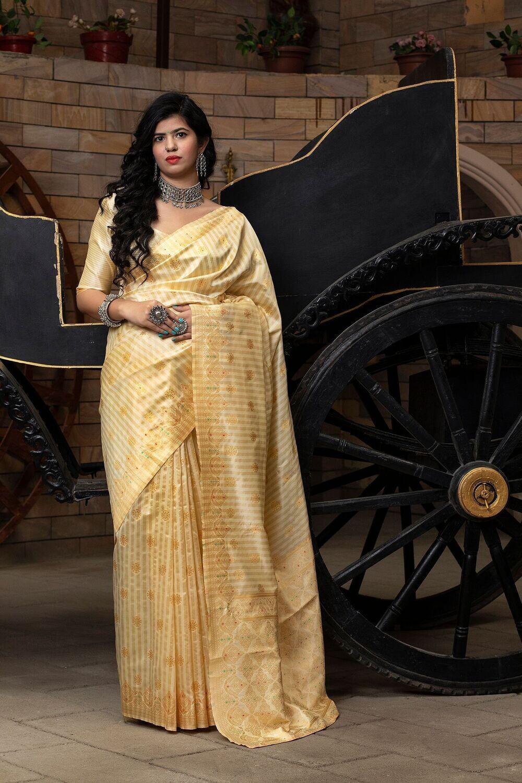 Exotic Off White Party Wear Banarasi Silk Saree