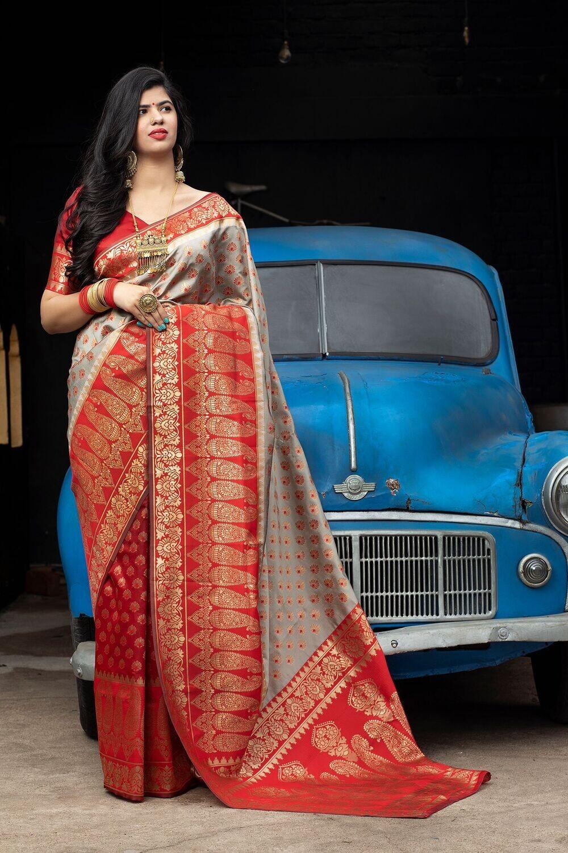 Exclusive Festive Wear Red Color Weaving Silk Saree