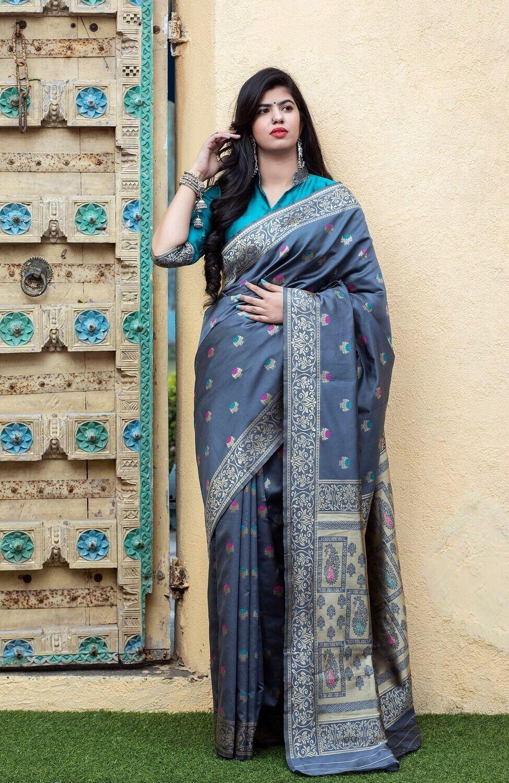 Demanding Grey Color Silk Saree