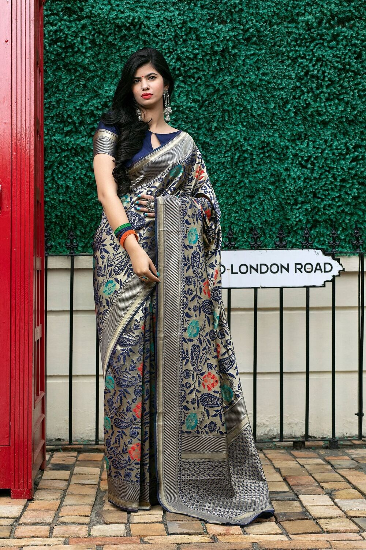 Gorgeous Navy Blue Fancy Pattern Embellished Silk Saree