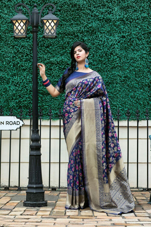 Royal Blue Fancy Banarasi Weaving Silk Saree